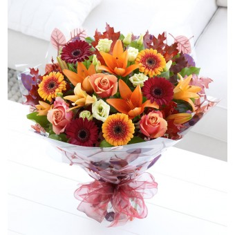 Autumn Rose and Lily Hand-Tied