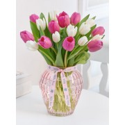 Mothers Day Pink And White Tulip Vase