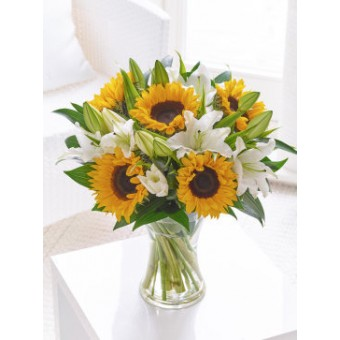 Sunflower and Lily Hand Tied