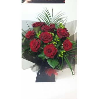 12 Red Roses with Green Hypericum